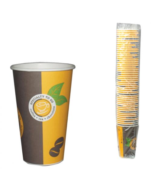 Стакан одноразовый 400 мл., 50 шт.бумажный, желтый с рисунком Huhtamaki