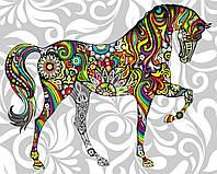Холст по номерам без коробки Цветочный конь (BK-GX21205) 40 х 50 см