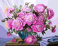 Картина по номерам без коробки Пионы в синей вазе (BK-GX5583) 40 х 50 см