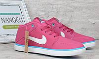 Кроссовки слипоны кожаные Nike Suketo розовые , Малиновый, 36