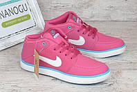 Кроссовки слипоны кожаные Nike Suketo розовые , Малиновый, 38