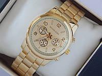 Наручные часы Michael Kors с тремя циферблатами, золотые, фото 1