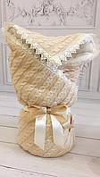 "Зимний вязанный конверт-одеяло  ""Фантазия"" (подклад махра) капучино, фото 1"