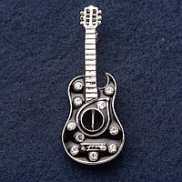 """Брошь """"Гитара Бандероса"""" 5х2см черная эмаль, серый металл"""