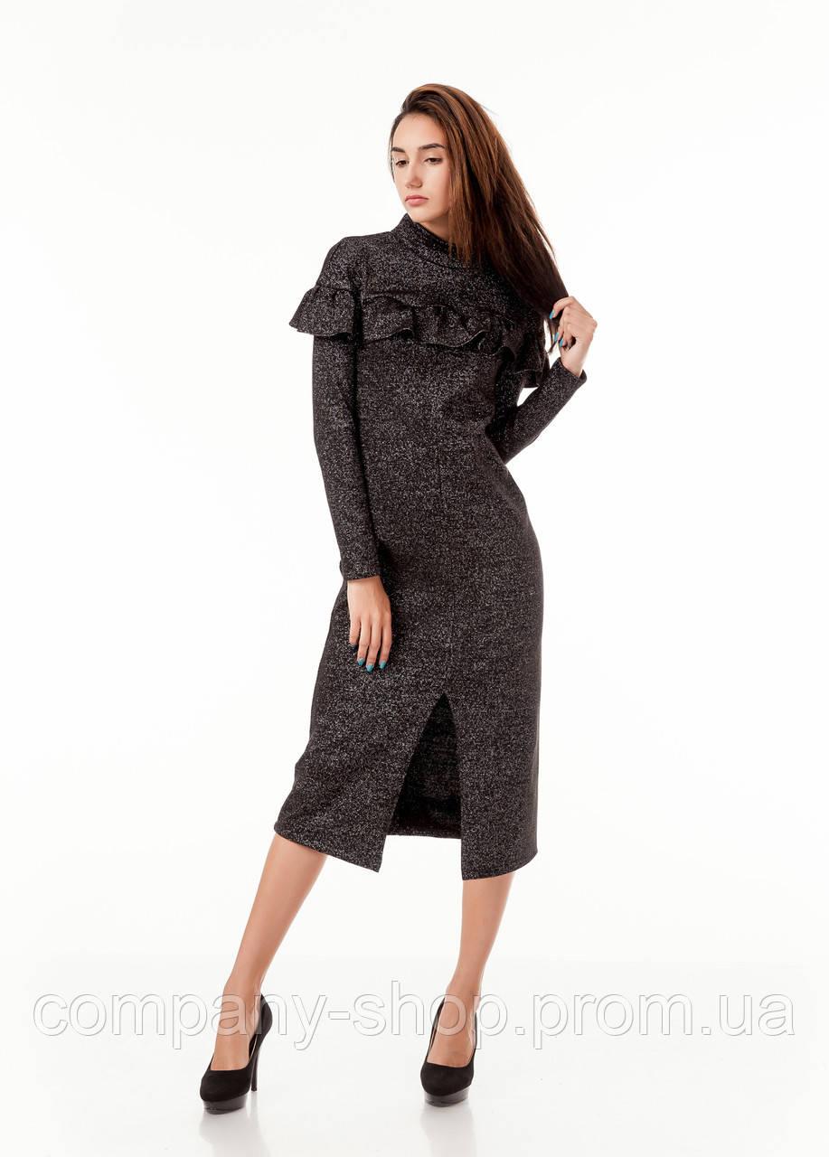 Платье трикотажное теплое удлиненное с воланом по груди. Модель П103_люрекс черный.