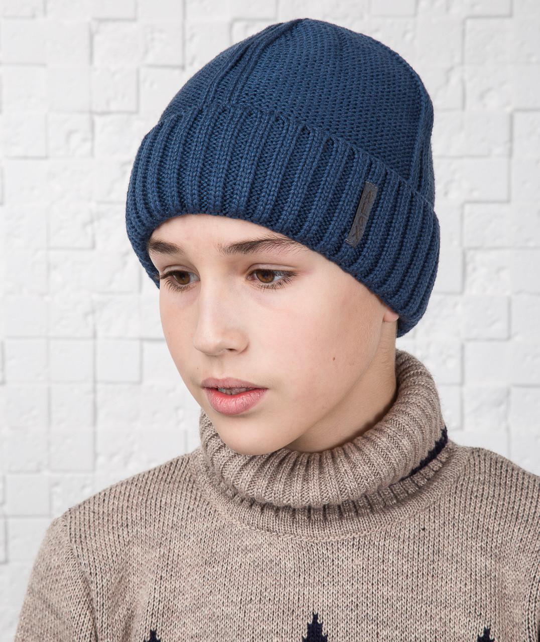 Зимняя вязаная шапка для мальчика подростка на флисе - Артикул AL17034