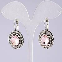 """Серьги """"Варвара"""" с розовыми кристаллами классические """"под старину"""" L-4см"""
