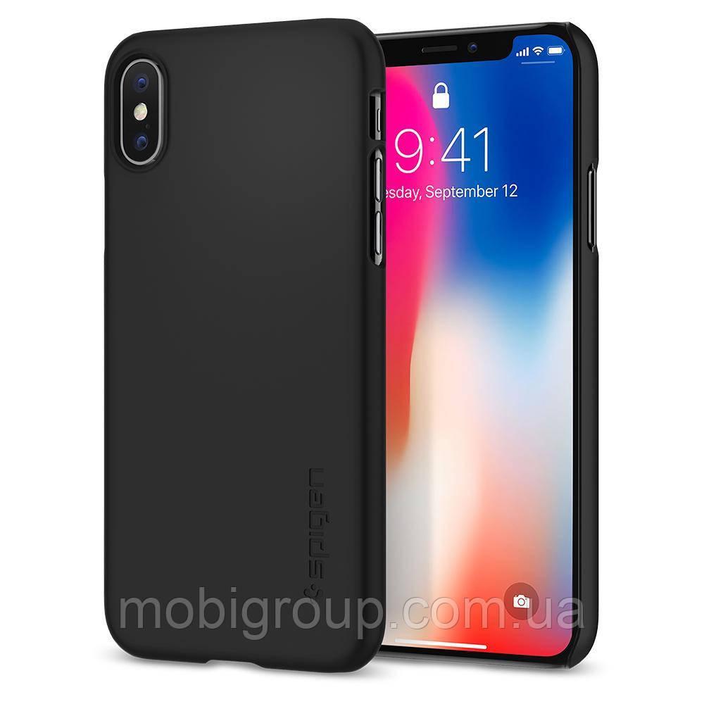 Чехол Spigen для iPhone X Thin Fit, Black (057CS22108)