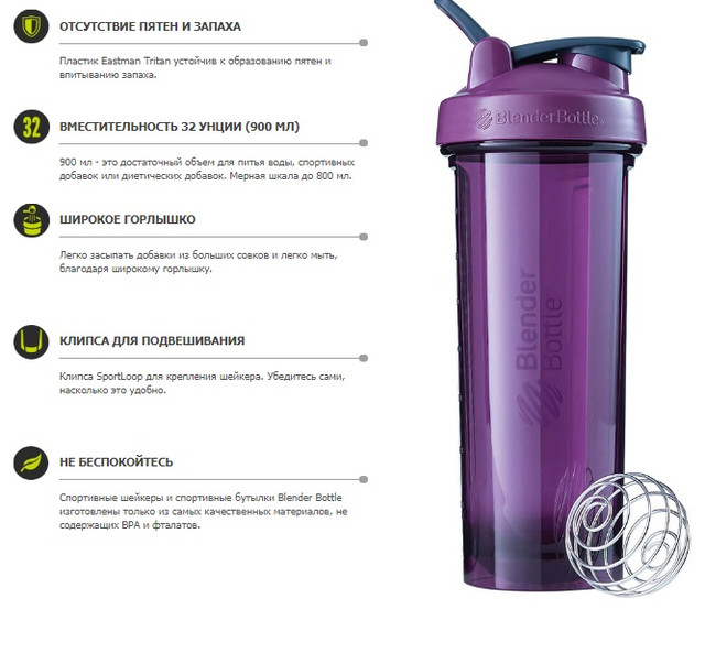 Шейкер спортивный BlenderBottle Radian Tritan 32oz/940ml (ORIGINAL) Sea