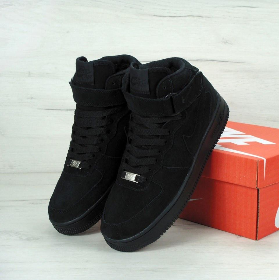 9f0fa701 Кроссовки в стиле Nike Air Force Winter High Black мужские аир форс (С мехом )