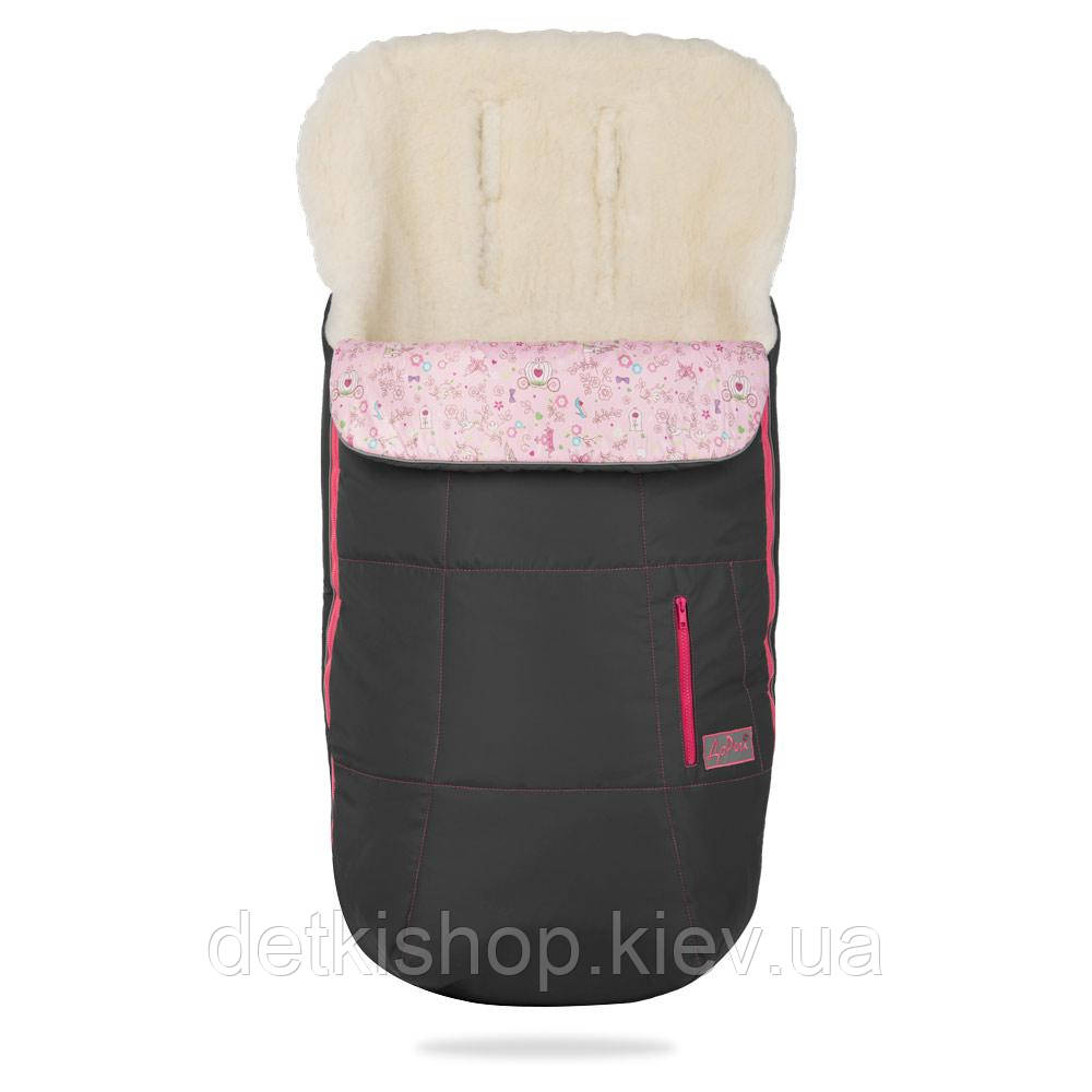 Конверт на овчине Trend ДоРечі (серый с розовым декором)
