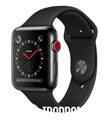 Apple Watch Series 3 (GPS+LTE) 42mm Space Black Stainless Steel Case with Black Sport Band (MQK92)