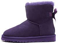 """Женские UGG Classic Mini Bow """"Purple"""" (Угги Австралия) фиолетовые угги с бантиком"""