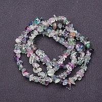 Бусины натуральный камень на нитке Флюорит крошка d-8мм L-85см