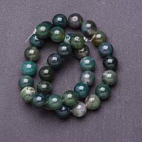 Бусины натуральный камень на нитке Агат моховый d-12мм L-37см