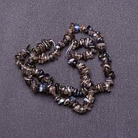 Бусины натуральный камень на нитке  Лабрадор крошка d-5мм L-40см