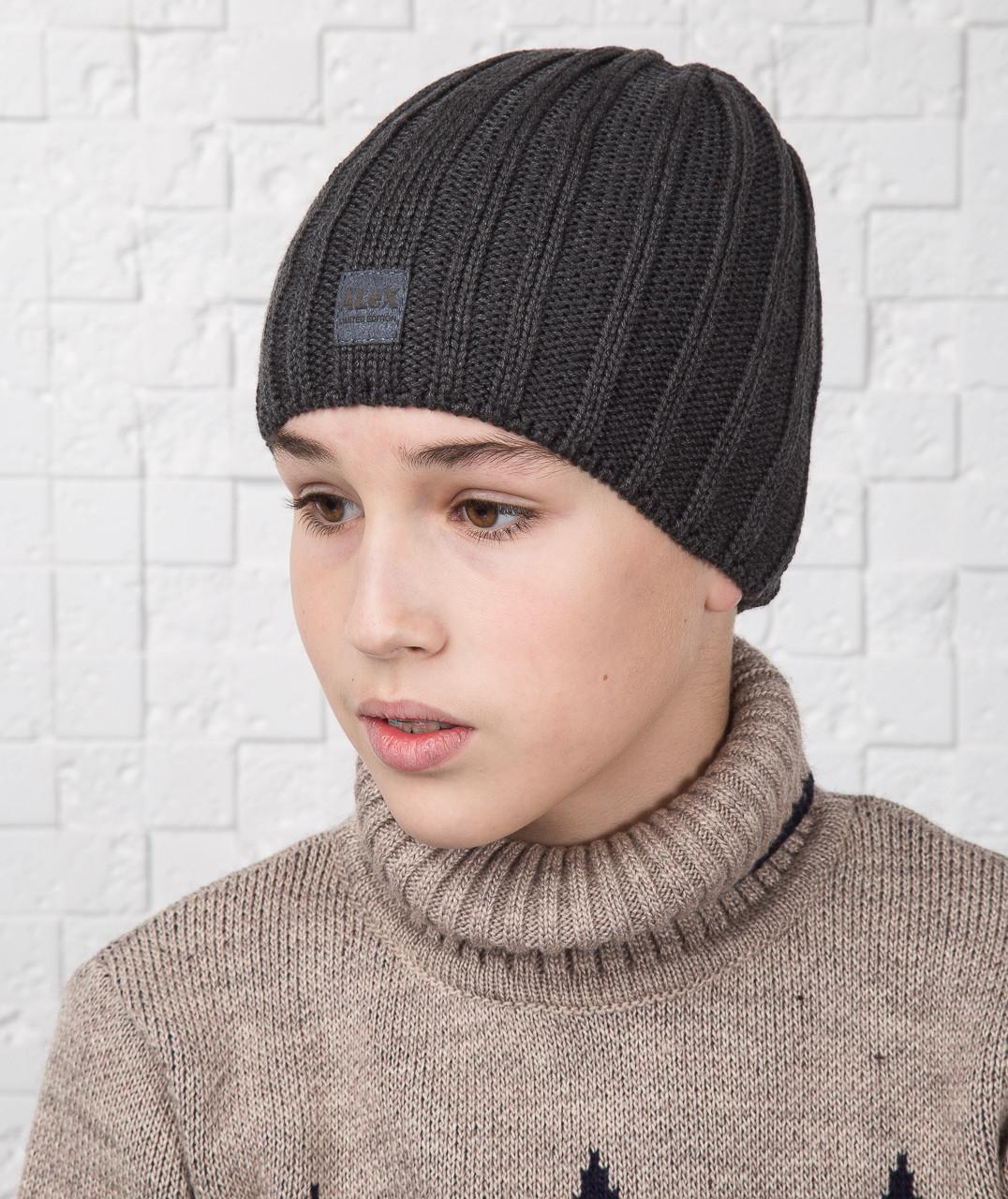 Зимняя шапка для мальчика подростка на флисе - Артикул AL17042