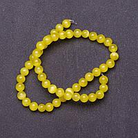 Бусины натуральный камень на нитке кошачий глаз Желтый d-8мм L-37см