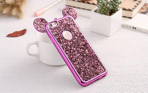 Чехол накладка на iPhone 6/6s из плотного силикона с пайетками и ушками микки, розовый