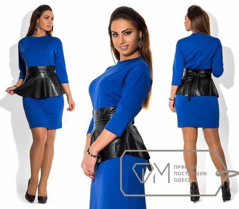 """Женское платье с поясом в виде баски из эко кожи ткань """"Французский трикотаж"""" синий 48, 54 размер баталы, фото 2"""