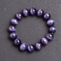 Браслет женский из камня Кошачий глаз Фиолетовый d- на резинке обхват 18 см