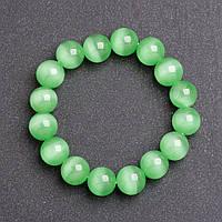 Браслет женский из камня Кошачий глаз Зеленый d-12мм на резинке обхват 18 см