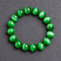Браслет женский из камня Кошачий глаз темно Зеленый d-12мм на резинке обхват 18 см