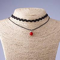 Чокер на шею с подвеской Красная бусинка
