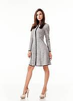 Платье женское с окантовкой и длинной молнией впереди. Модель П104_ангора серая.