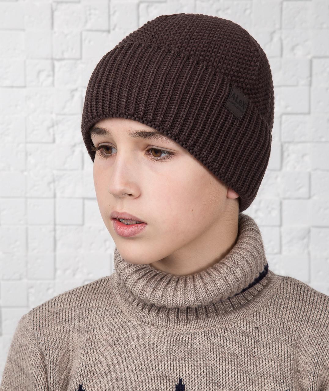 Вязаная шапка для мальчика подростка на флисе - Артикул AL17036
