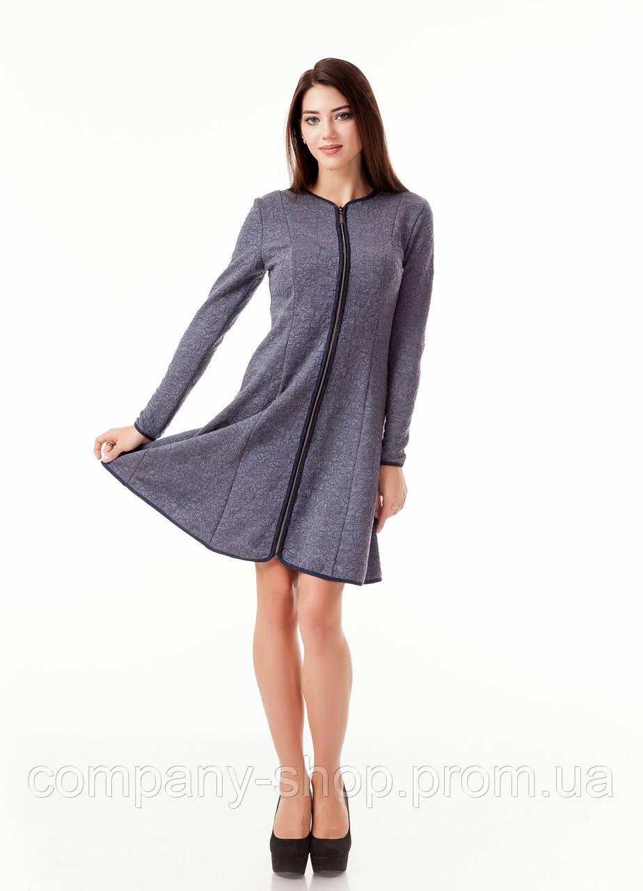 Платье женское с окантовкой и длинной молнией впереди. Модель П104_темно-серый цветочек.