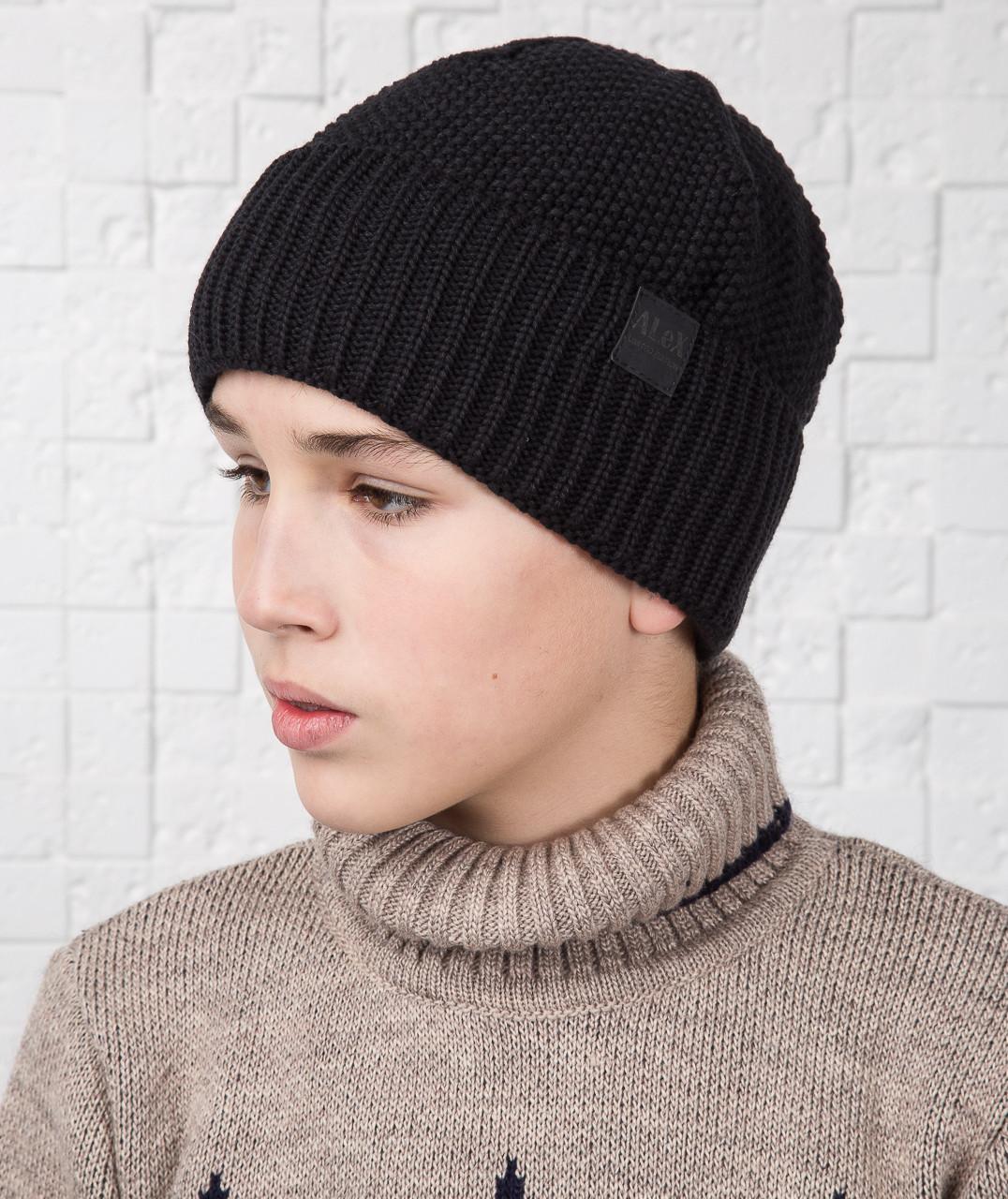 Вязаная шапка для мальчика подростка на флисе зима 2018 - Артикул AL17036