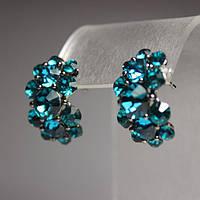 Акция Серьги женские с бирюзовыми кристаллами L-2,5см