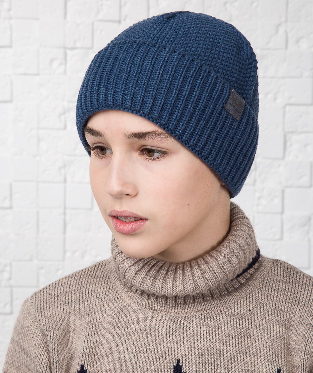 купить зимнюю вязаную шапку для мальчика подростка на флисе
