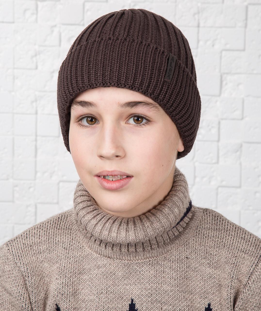 Зимняя вязаная шапка для мальчика подростка на флисе - Артикул AL17022
