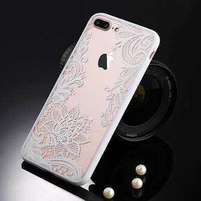 Чехол накладка на iPhone 6/6s ажурный белый