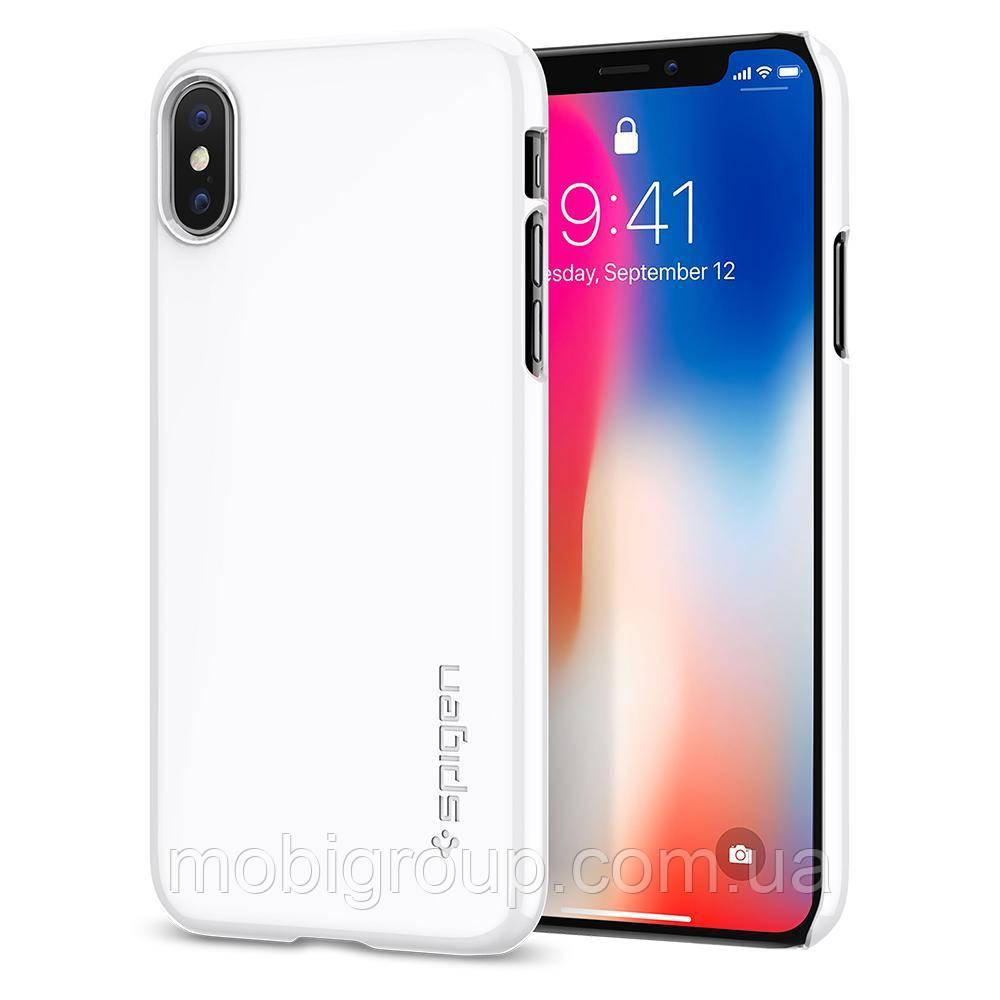 Чехол Spigen для iPhone X Thin Fit, Jet White (057CS22112)