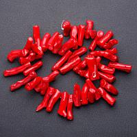 Бусины натуральный камень Коралл красный веточки крупные на нитке для рукоделия L-40см d-8мм l-4см (+-)