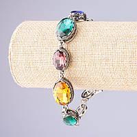 """Браслет с разноцветными кристаллами оправа """"зубчик"""" овальный камень 7 шт 20*16 и 13*16мм больше меньше см L-18-21см"""