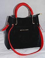 Женская черная замшевая mini сумка-шоппер Michael Kors (Майкл Корс) с отстёгивающейся косметичкой
