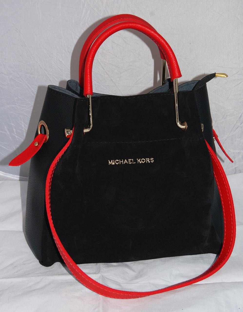 Женская черная замшевая mini сумка-шоппер Michael Kors (Майкл Корс) с  отстёгивающейся косметичкой 8d4d03b2bfd