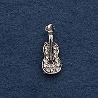 Брошь Скрипка 2,5х1см серый металл