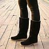 Зимние женские сапоги на низком ходу — черные из натуральной замши (36, 37, 38, 39, 40), фото 3