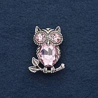 Брошь Сова на ветке с розовым кристаллом 3х2,5см серый металл