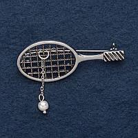 """Брошь """"Теннисная ракетка"""" 5,5х2см серый металл"""