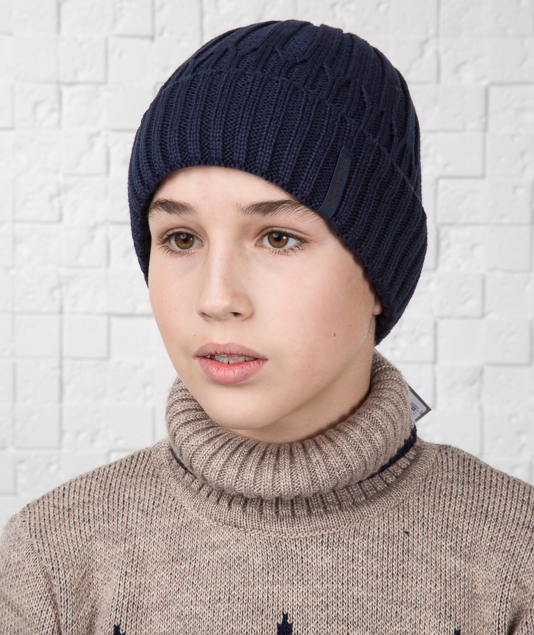 Зимняя вязаная шапка для мальчика подростка - Артикул AL17029