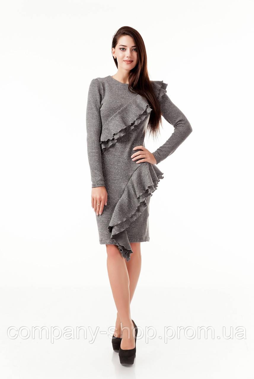 Стильное коктейльное платье с рюшами воланами оборками. Модель П105_серый люрекс.