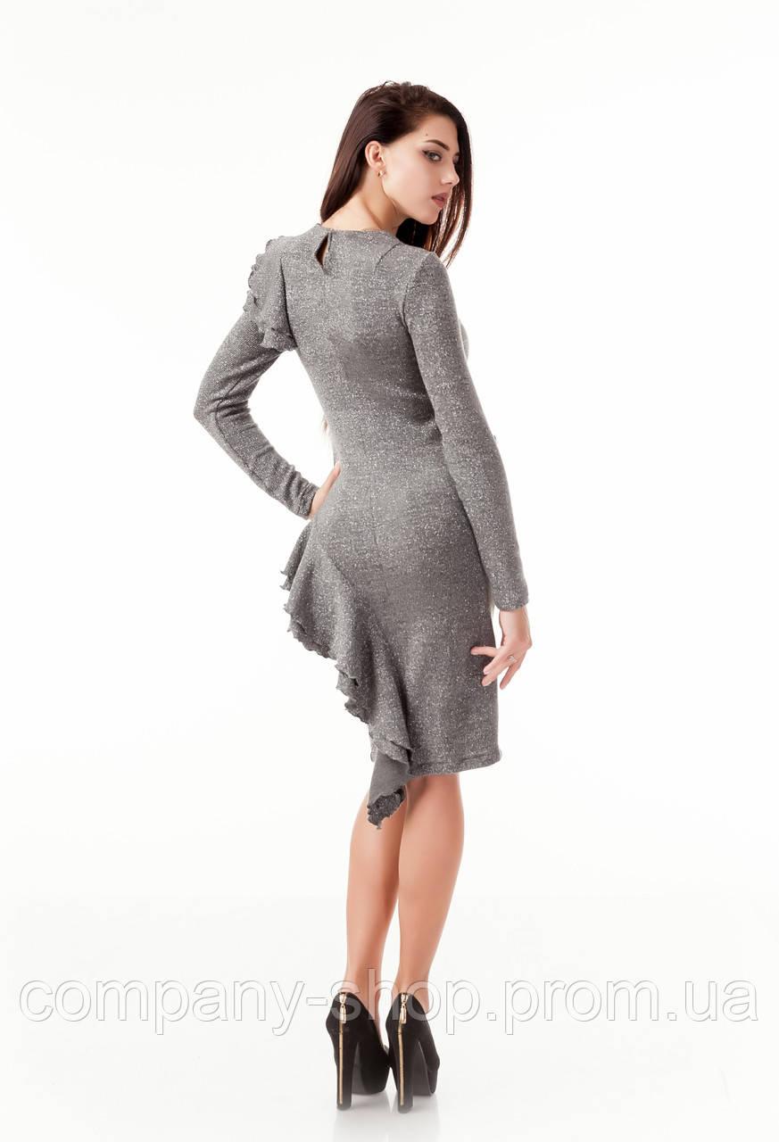 09f3d678e5e ... Стильное коктейльное платье с рюшами воланами оборками. Модель  П105 серый люрекс.