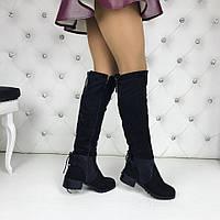 Только 35 размер! Женские зимние сапоги широкий каблук эко замш