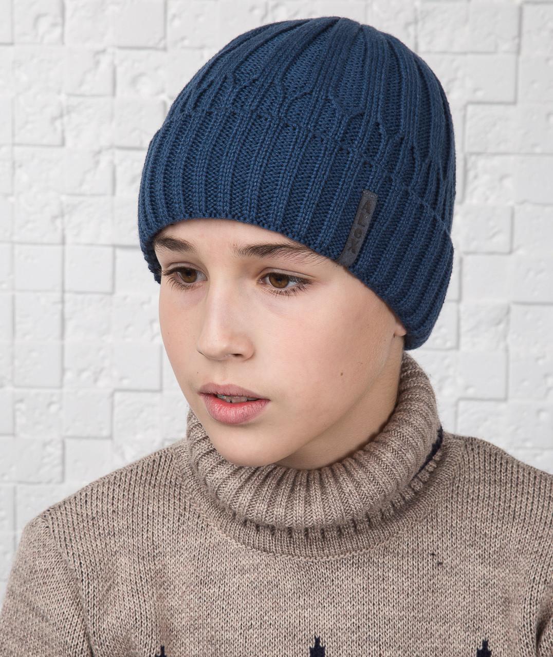 Вязаная шапка для мальчика подростка на флисе с отворотом - Артикул AL17029